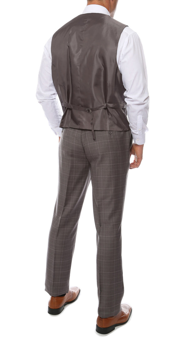Lazio Charcoal 3pc Vested Slim Fit Plaid Suit