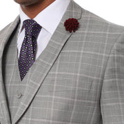 Lazio Light Grey Plaid Design Notch Lapel Slim Fit Suit With Adjustable Vest - Ferrecci USA