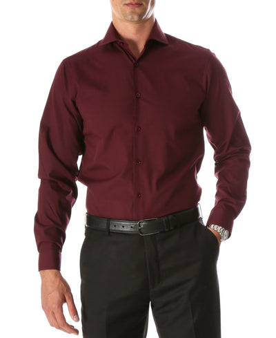 Leo Burgundy Mens Slim Fit Cotton Shirt - Ferrecci USA