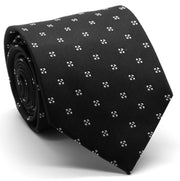Mens Dads Classic Black Geometric Pattern Business Casual Necktie & Hanky Set LO-6 - Ferrecci USA
