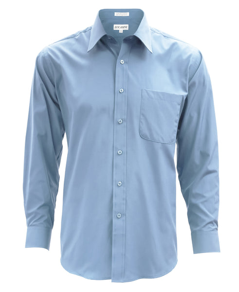 Lucasini Mens Light Blue Regular Fit 300 Series Dress Shirt