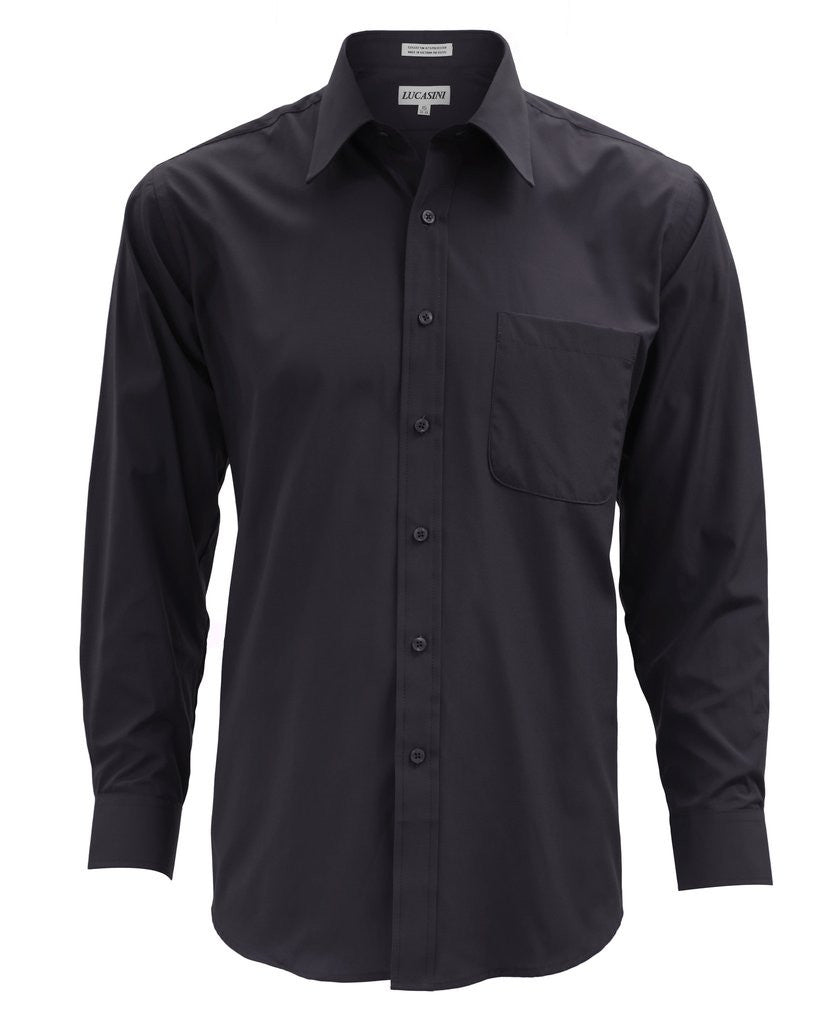 Lucasini Mens Black Regular Fit 300 Series Dress Shirt