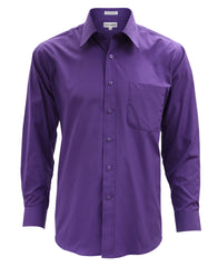Lucasini Mens Purple Regular Fit 300 Series Dress Shirt