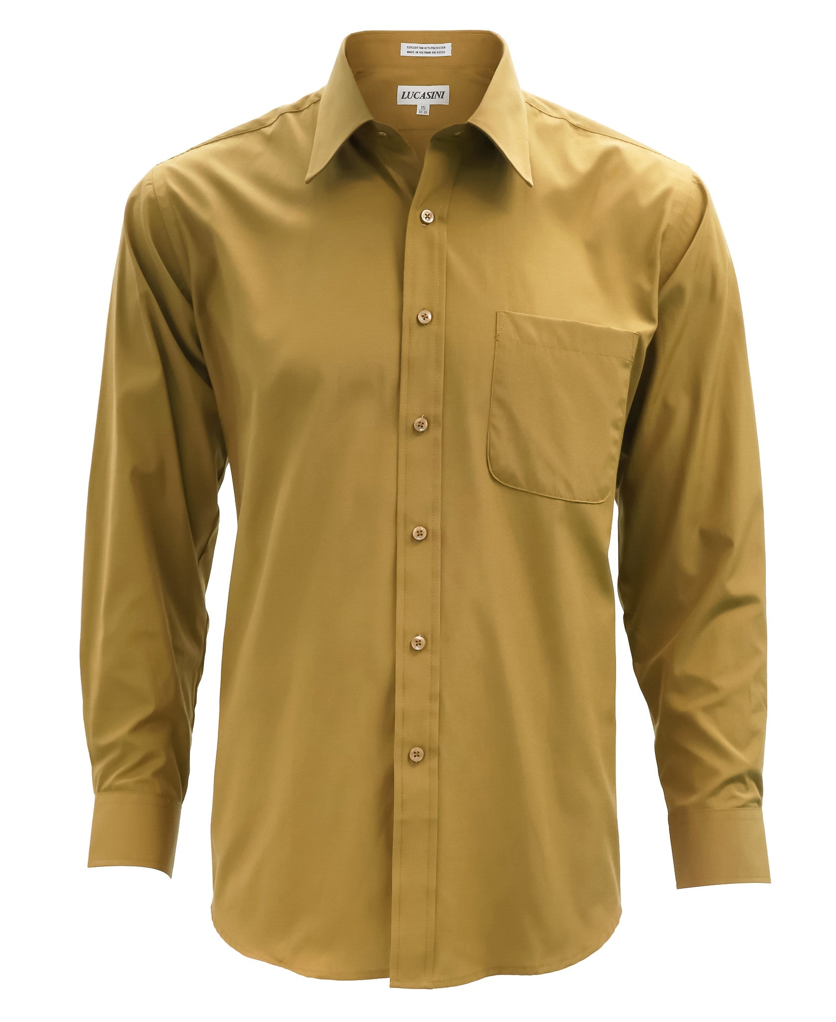 Lucasini mens gold regular fit 300 series dress shirt for Men s regular fit shirts