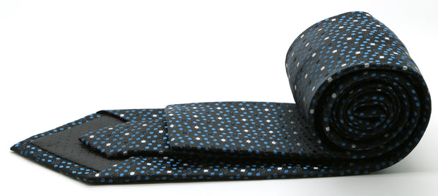 Mens Dads Classic Black/Blue Dot Pattern Business Casual Necktie & Hanky Set M-12 - Ferrecci USA