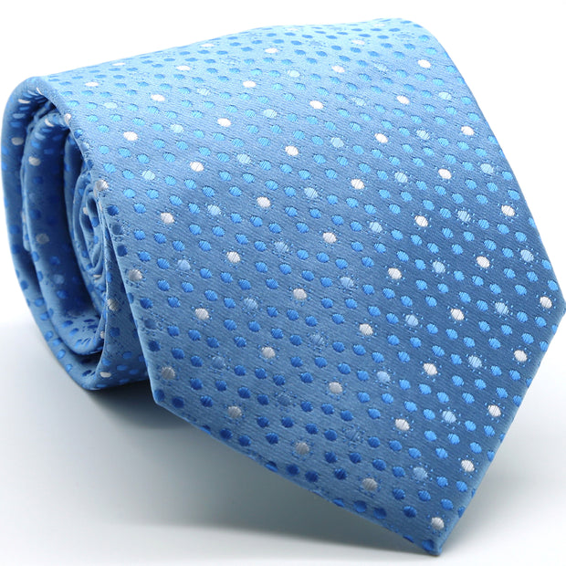 Mens Dads Classic Blue Dot Pattern Business Casual Necktie & Hanky Set M-5 - Ferrecci USA