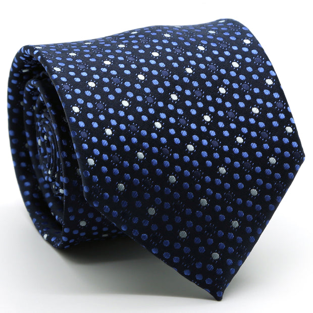 Mens Dads Classic Navy Dot Pattern Business Casual Necktie & Hanky Set M-8 - Ferrecci USA