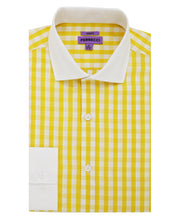 The Maxwell Yellow Check Slim Fit Cotton Dress Shirt