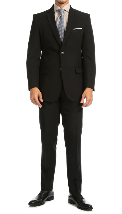 PL1969 Mens Black Slim Fit 2pc Suit