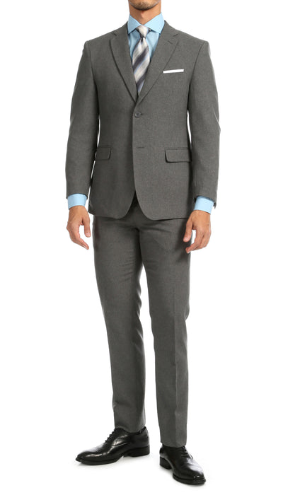 PL1969 Mens Heather Grey Slim Fit 2pc Suit