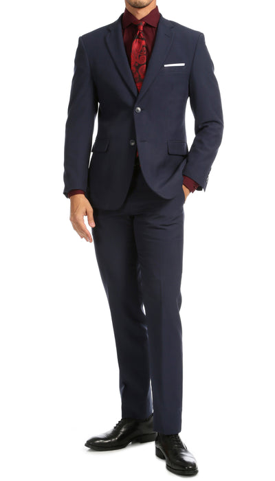 Paul Lorenzo Mens Navy Slim Fit 2 Piece Suit - Ferrecci USA