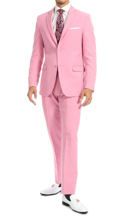 Paul Lorenzo Mens Pink Slim Fit 2 Piece Suit - Ferrecci USA