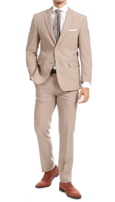 Paul Lorenzo Mens Tan Slim Fit 2 Piece Suit - Ferrecci USA
