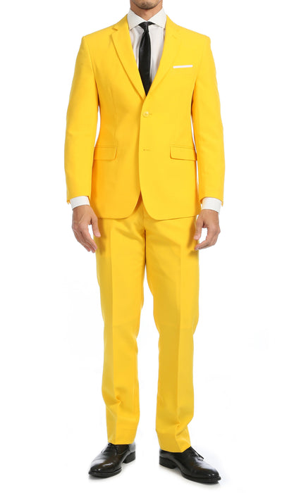 Paul Lorenzo Mens Yellow Slim Fit 2 Piece Suit