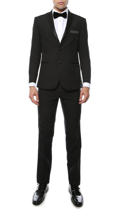 Paul Lorenzo Mens Black Slim Fit 2 Piece Tuxedo - Ferrecci USA