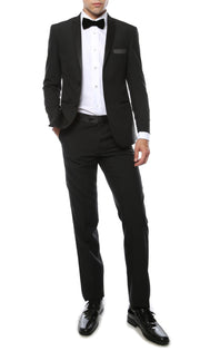 Paul Lorenzo MMTUX Black Slim Fit 2pc Tuxedo - Ferrecci USA