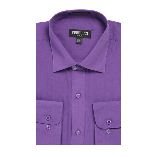 Mens Solid Dark Colored Dress Shirt - Many Colors
