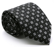 Mens Dads Classic Black Geometric Pattern Business Casual Necktie & Hanky Set N-4 - Ferrecci USA