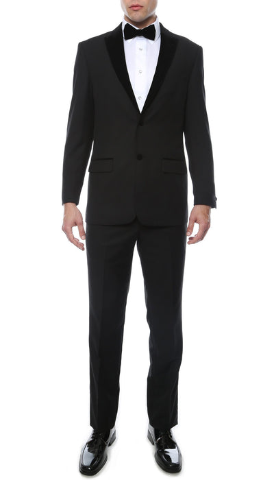 Noir Black Slim Velvet Peak Lapel 2 Piece Tuxedo - Ferrecci USA