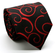 Mens Dads Classic Red Paisley Pattern Business Casual Necktie & Hanky Set O-1 - Ferrecci USA