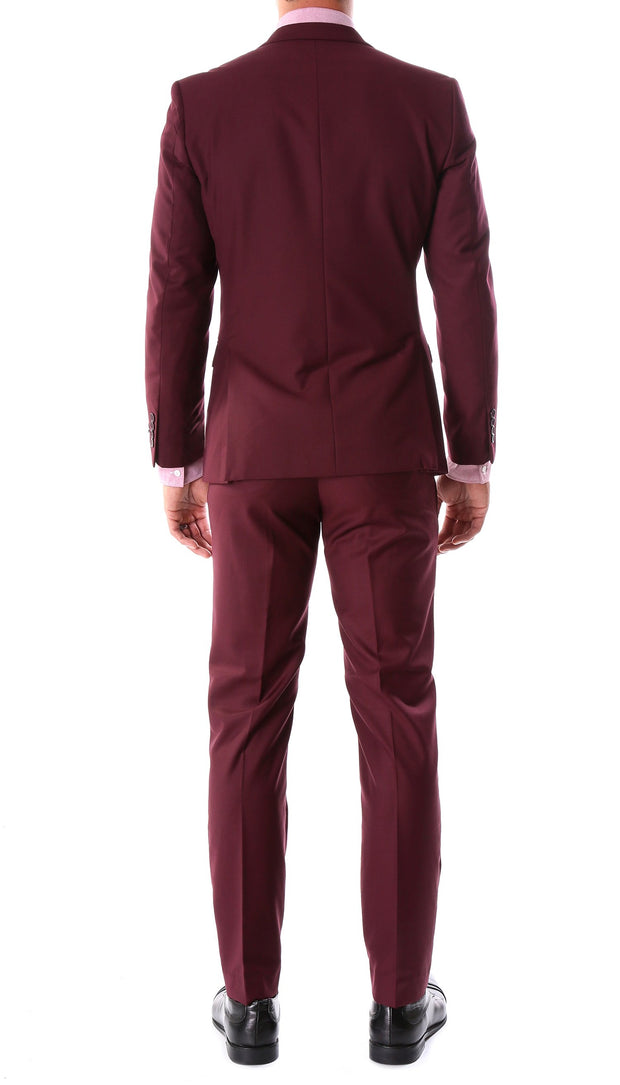 Oslo Burgundy Notch Lapel 2 Piece Slim Fit Suit - Ferrecci USA