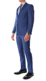 Oslo Indigo Blue Slim Fit Notch Lapel 2 Piece  Suit - Ferrecci USA
