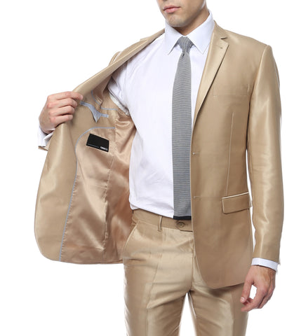 Oxford Champagne Sharkskin Slim Fit Suit