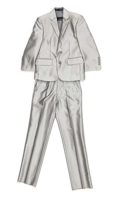 Boys Silver Shiny Sharkskin Oxford 3 Piece Vested Suit - Ferrecci USA