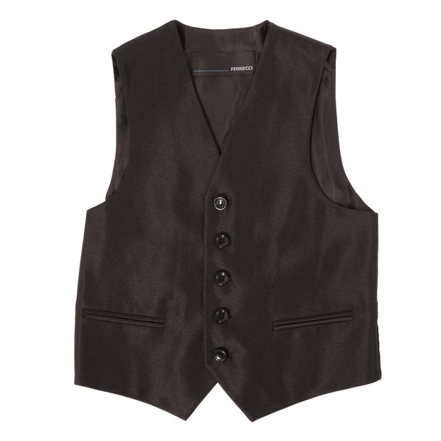 Boys Black Shiny Sharkskin Oxford 3 Piece Vested Suit - Ferrecci USA