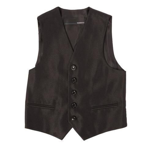 Boys Black Shiny Sharkskin Oxford 3pc Vested Suit