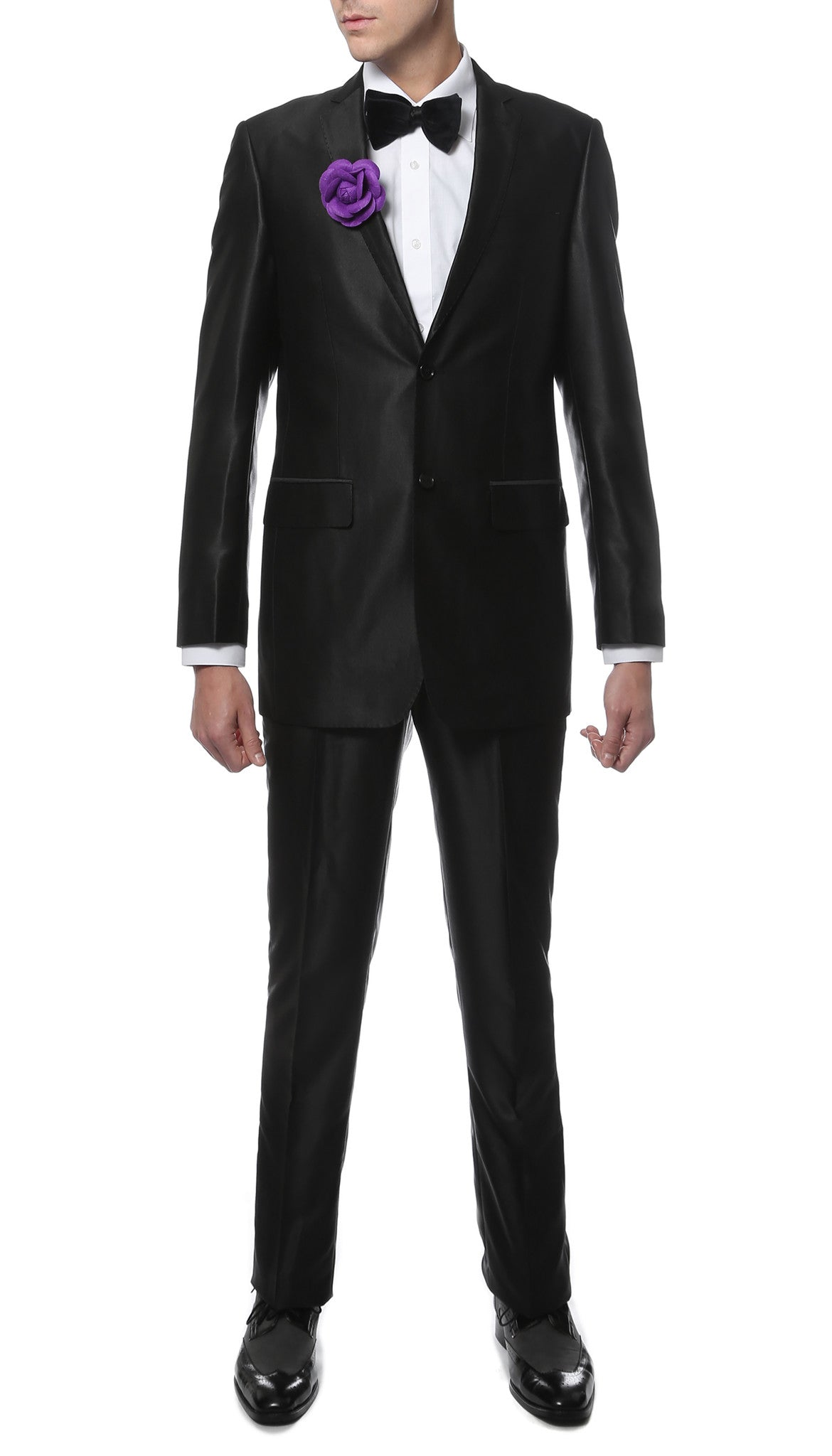 Ferrecci Mens Oxford Black Sharkskin Suit