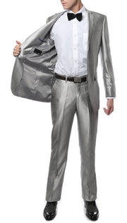 Oxford Silver Sharkskin Slim Fit Suit - Ferrecci USA