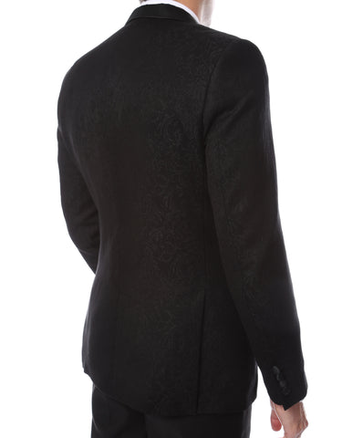 Pandora Mens Black Tapestry Super Slim Fit Notch Lapel Tuxedo Blazer