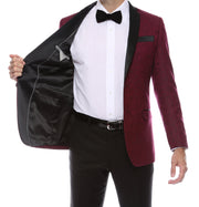 Pandora Mens Burgundy Tapestry Super Slim Fit Notch Lapel Tuxedo Blazer - Ferrecci USA