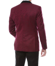 Pandora Mens Burgundy Tapestry Super Slim Fit Notch Lapel Tuxedo Blazer