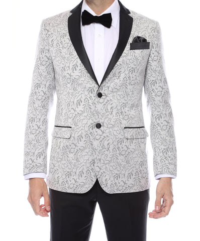 Pandora Mens Silver Tapestry Super Slim Fit Notch Lapel Tuxedo Blazer