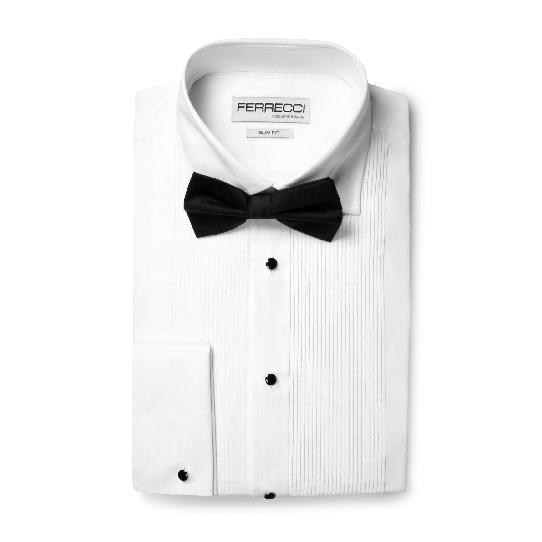Ferrecci Men's Paris White Slim Fit Lay Down Collar Pleated Tuxedo Shirt