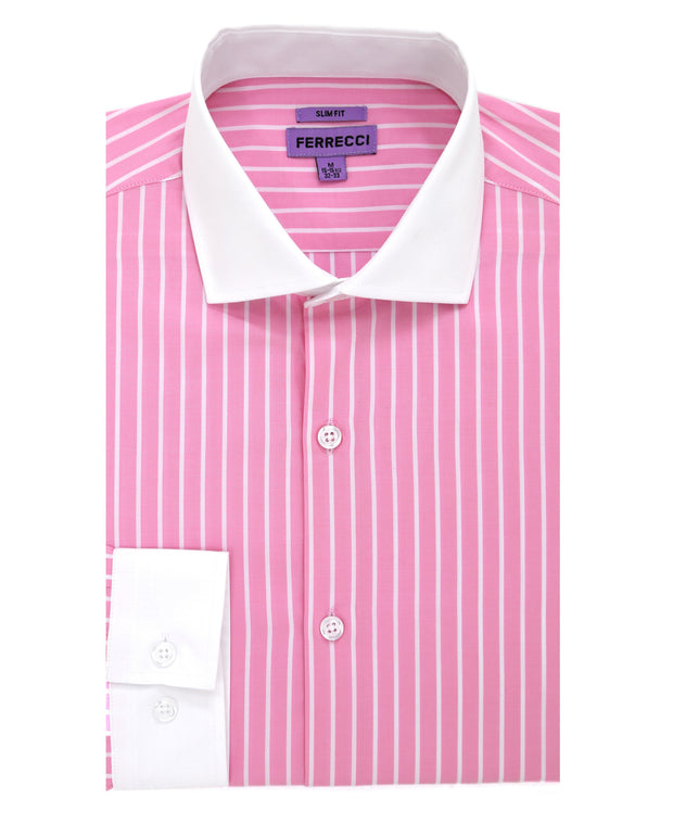The Pitt Striped Pink Slim Fit Cotton Dress Shirt
