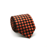 Mens Dads Classic Orange Circle Pattern Business Casual Necktie & Hanky Set PO-7 - Ferrecci USA
