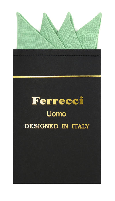 Pre-Folded Microfiber Basil Handkerchief Pocket Square - Ferrecci USA