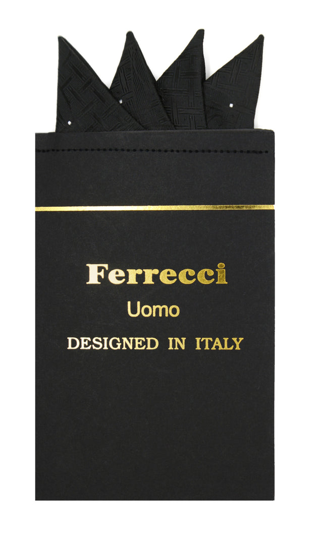 Pre-Folded Microfiber Black Geometric Handkerchief Pocket Square - Ferrecci USA