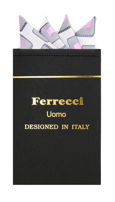Pre-Folded Microfiber Grey Grey Geometric Handkerchief Pocket Square - Ferrecci USA