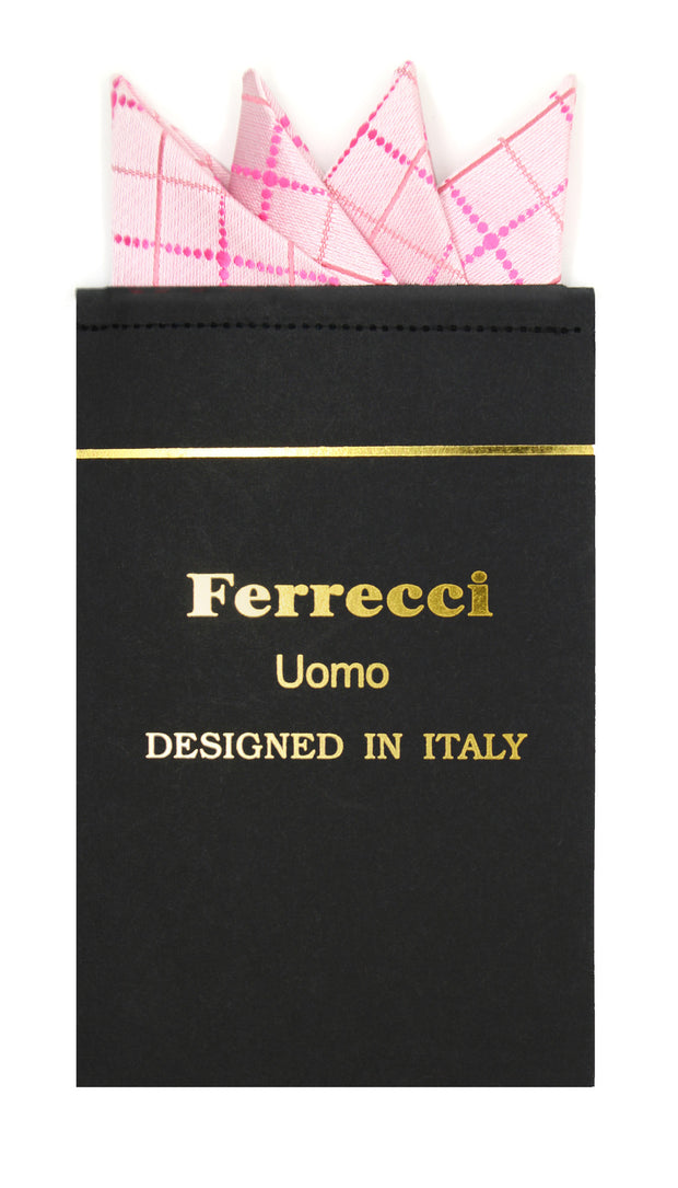 Pre-Folded Microfiber Pink Geometric Handkerchief Pocket Square - Ferrecci USA