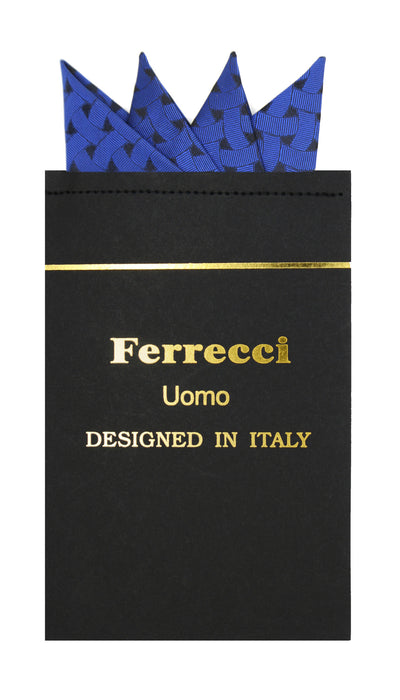 Pre-Folded Microfiber Royal Blue Geometric Handkerchief Pocket Square - Ferrecci USA