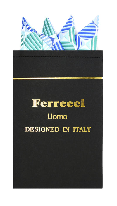 Pre-Folded Microfiber Blue Green Polkadot Handkerchief Pocket Square - Ferrecci USA