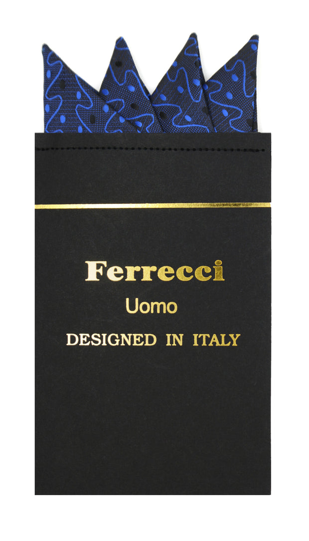 Pre-Folded Microfiber Black Blue Stripe Handkerchief Pocket Square - Ferrecci USA