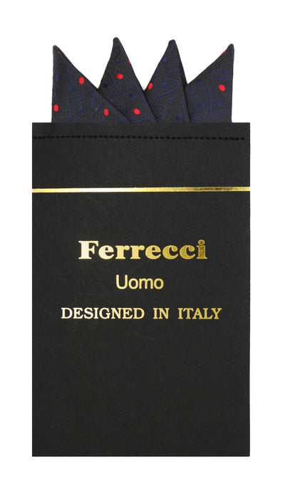 Pre-Folded Microfiber Black Red Stripe Handkerchief Pocket Square - Ferrecci USA