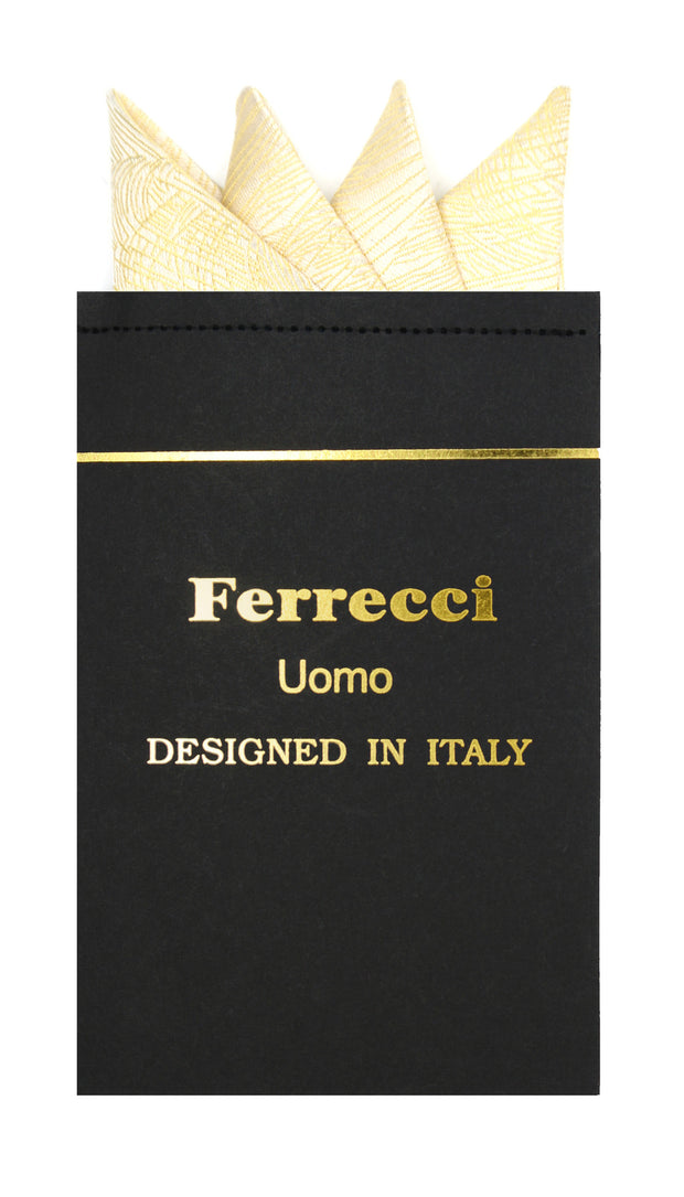 Pre-Folded Microfiber Gold Stripe Handkerchief Pocket Square - Ferrecci USA