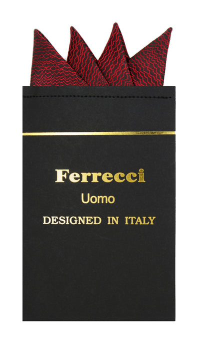 Pre-Folded Microfiber Red Black Stripe Handkerchief Pocket Square - Ferrecci USA
