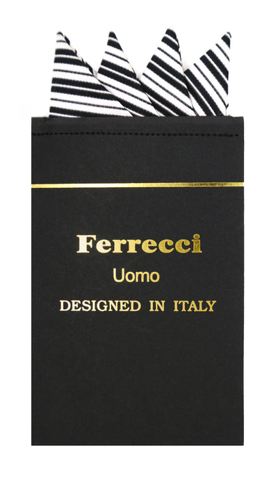 Pre-Folded Microfiber Silver Black Stripe Handkerchief Pocket Square - Ferrecci USA